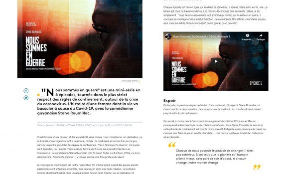 """""""Nous sommes en guerre"""", une mini-série sur le Covid-19 avec l'actrice guyanaise Stana Roumillac"""