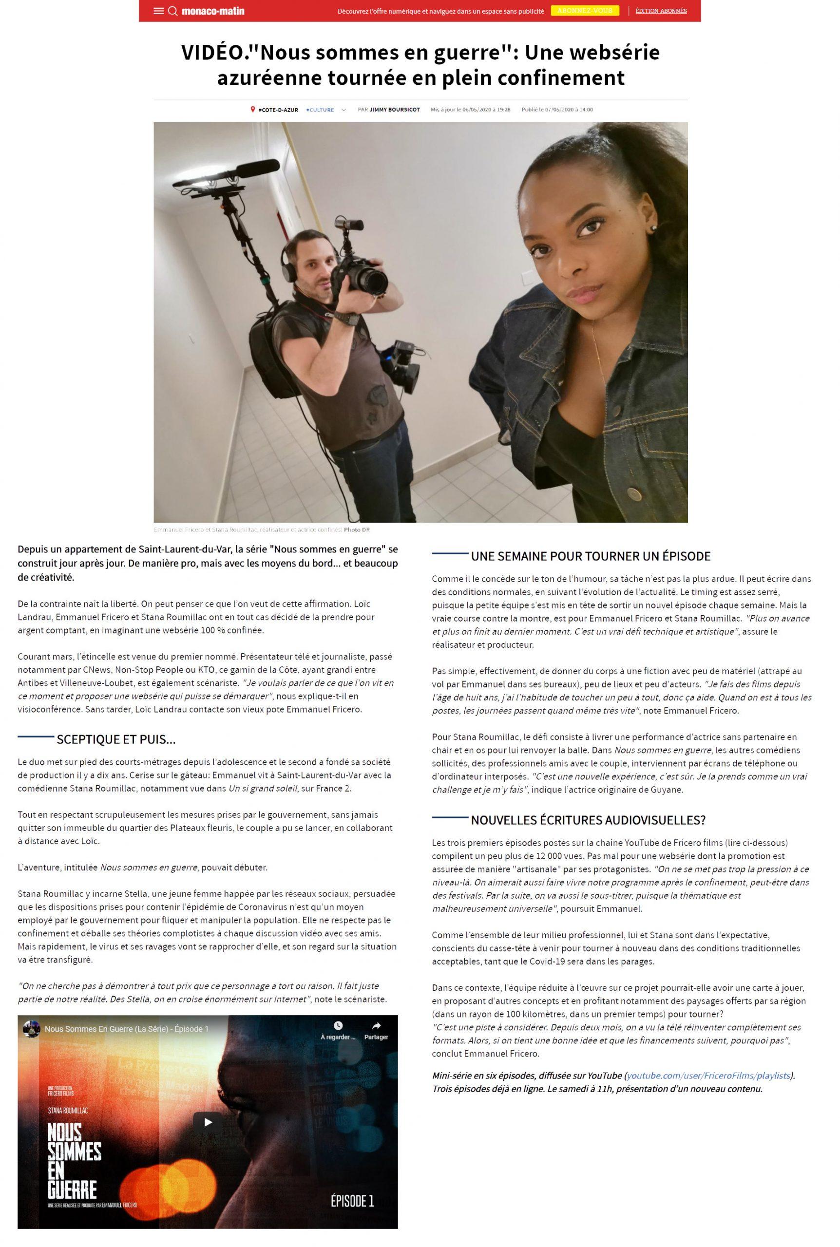 """Monaco-Matin - """"Nous sommes en guerre"""": Une websérie azuréenne tournée en plein confinement"""