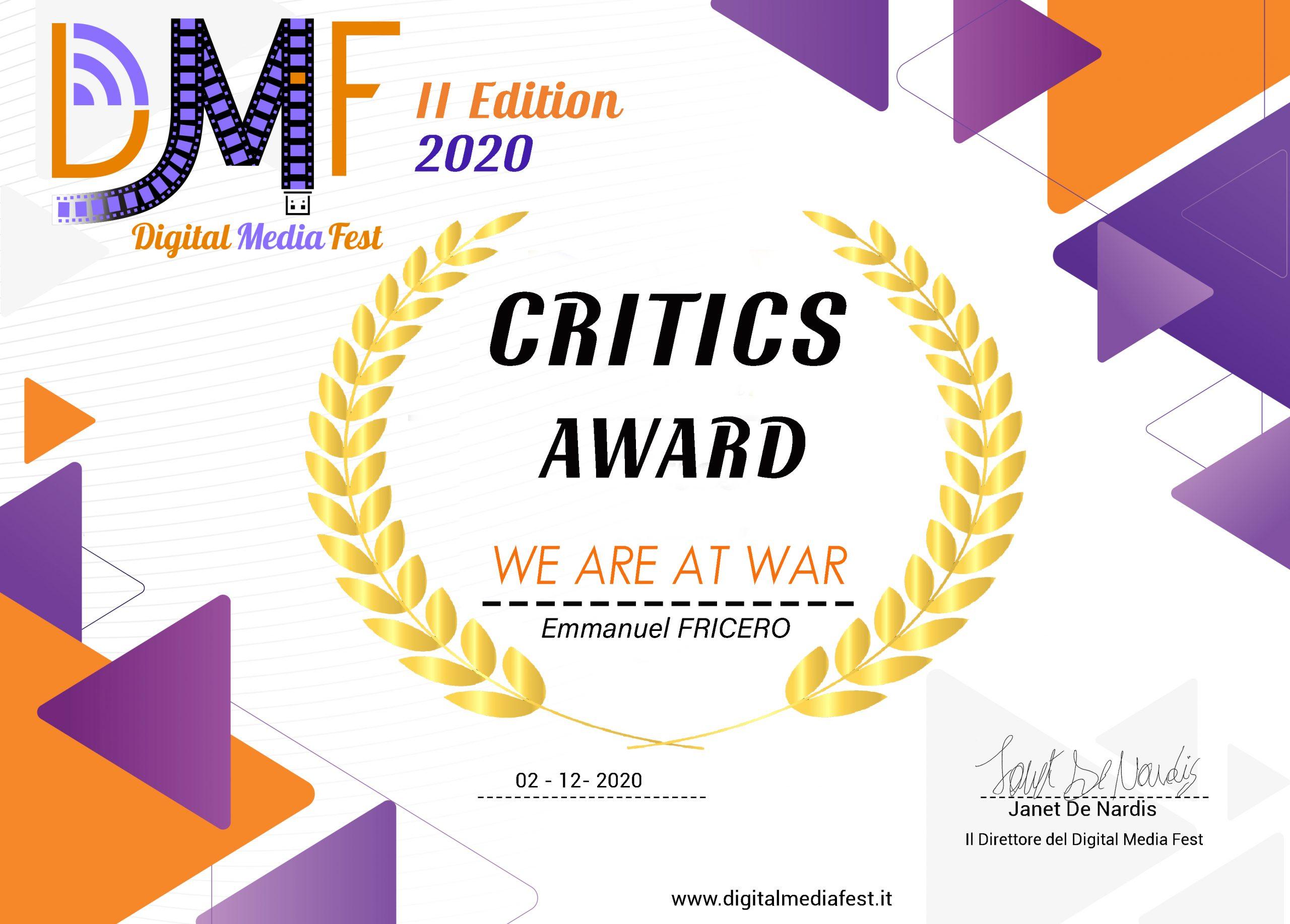 """Prix de la Critique pour """"Nous Sommes en Guerre"""" au Digital Media Fest de Rome"""