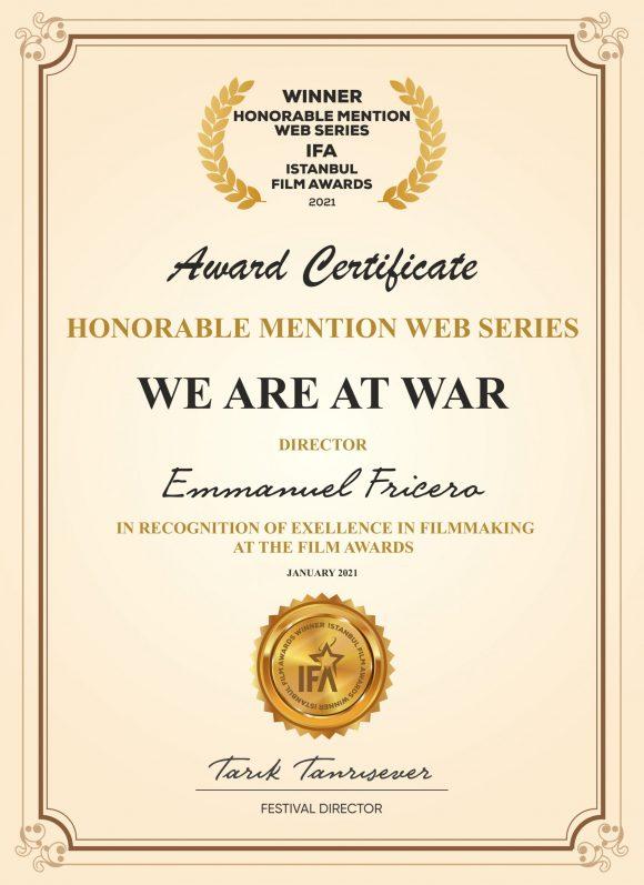 4ème récompense internationale avec la Mention d'Honneur de la Web-Série à l'Istanbul Film Awards