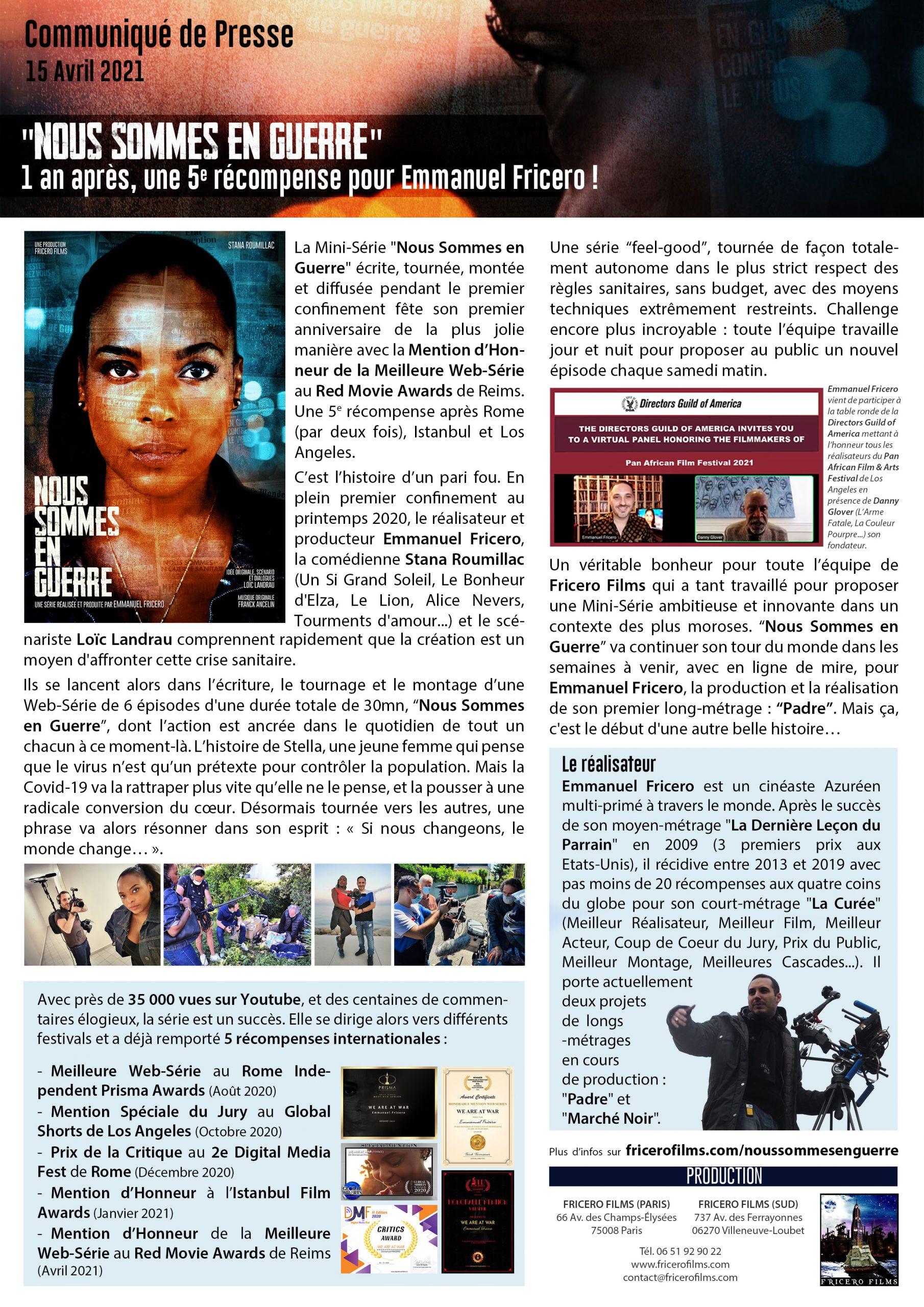 Communiqué de presse 15 avril 2020 - 1 an après 5e récompense pour Emmanuel Fricero